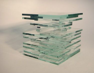 """Kube C - Glass cub shown in 4""""x""""4x4""""(7LBS). Custom size available up to 48""""x48""""x48 [ 9,000 LBS) Presence absence, void, emptiness. A collaboration between emmanuelle renard and óscar valero sáez. Work is part of Alphabet series."""