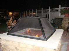 """This example shown here is a 48"""" square fire pit screen.  WE WILL MAKE ANY SIZE SQUARE OR RECTANGLE SCREEN YOU NEED. THIS SCREEN PICTURED HERE IS 14"""" TALL AND WEIGHTS ABOUT 75 POUNDS."""