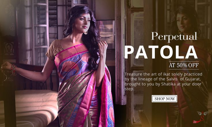 Immerse in #ikat dyed colors and soak in #tradition with authentic new #Patolasarees on #Shatika! Enjoy the pleasure of having them at 50% #discount for the #festival!