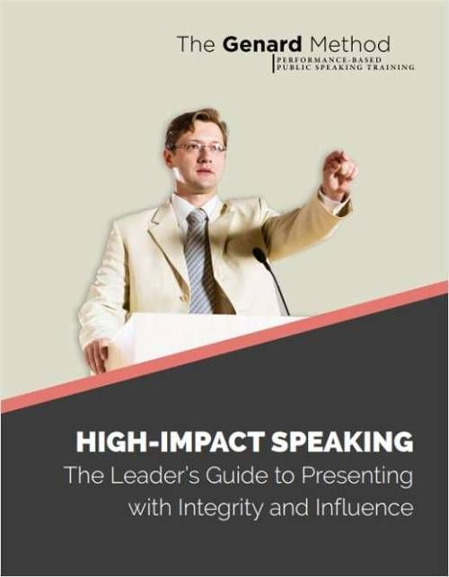 "#Free #eBook: ""High-Impact Speaking - The Leader's Guide to Presenting with Integrity and Influence"" .. Performance-Based Public Speaking Training ..   What does it mean to speak as a #leader? It means #leadership #skills training that focuses on #performance..   #PublicSpeakingTraining #freeebooks #highimpactspeaking #guide #leaders #influence #publicspeaking #genardmethod #public #speaking #business #training #speak_as_a_leader #pdf #publicspeakingcourse"
