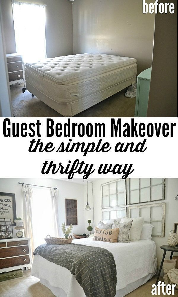 Guest Bedroom makeover on a budget! See how thrifted finds, a little paint, some…