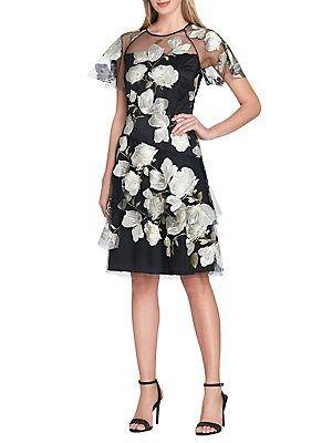 39b5875aab99 Tahari Arthur S. Levine Petite Floral-Embroidered Fit-&-Flare Dress ...