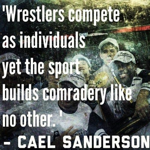 Wrestlers compete as individuals, yet the sport builds camaraderie like no other. - Cael Sanderson ‪#‎sports‬ ‪#‎wrestling‬