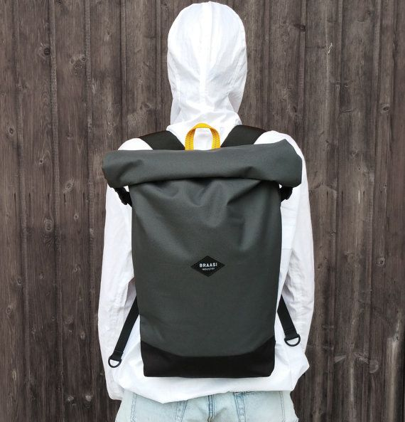 Rolltop gray backpack for urban cycling daily door BraasiIndustry