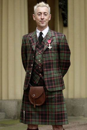 Alan Cumming--I love him! This is one of his more conservative looks.  Kilt from 21st CENTURY KILTS | 21st CENTURY KILTS /  This is wrong on so many levels one tartan, for one piece, never repeat pattern more than once. Rule of thumb; Numero Uno!