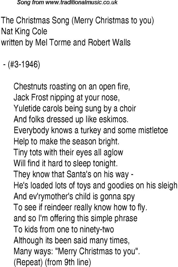 Xmas carols lyrics
