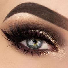 Dark brown smoky eye.