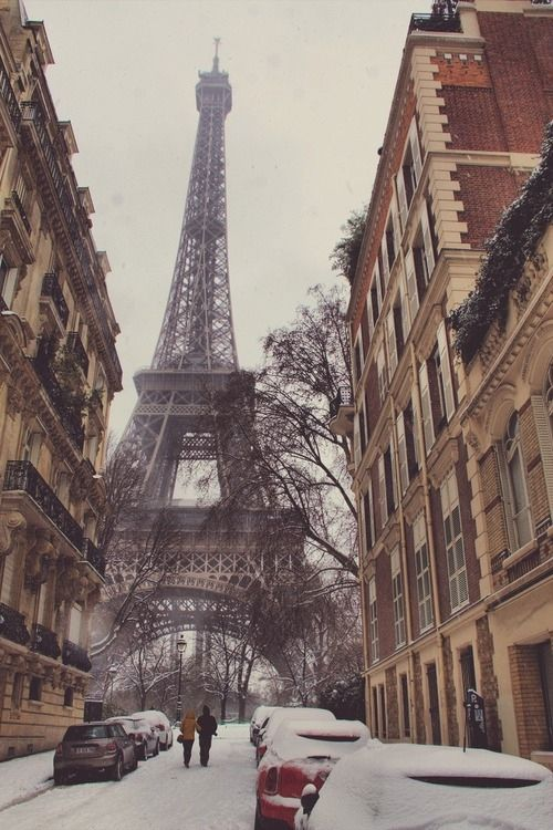 Eiffel tower in winter couples cars city outdoors winter snow landmarks