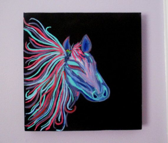 Horse Painting On Canvas Teen Art Girls Rainbow By Dreamywalls