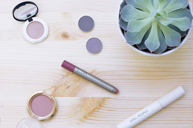 Spring makeup look using all green and natural beauty brands.