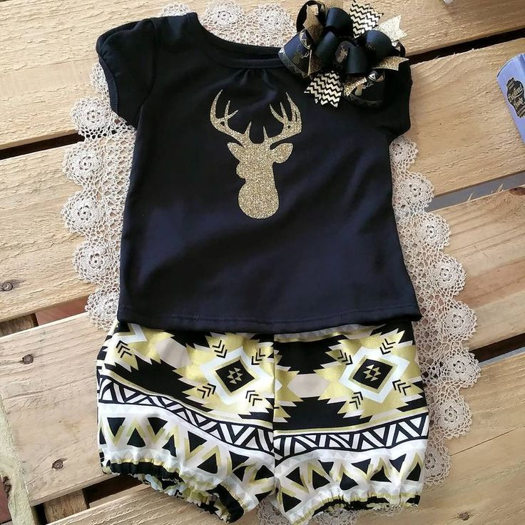 Gold Glitter Deer Head Shirt with Aztec Shorts Baby Toddler Outfit Matching Boutique Bow, Girl Deer Outfit, Southern Outfit. $32.00 Made by Southern Glam