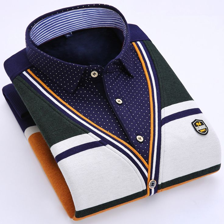 2016Fashion casual shirt winter warm long sleeves dress shirt for men with thick brand quality False two pieces dress shirt men