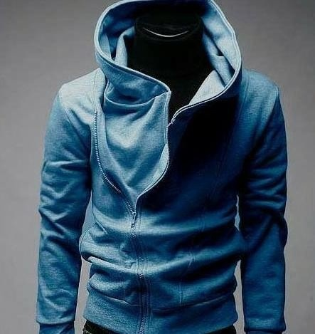the hoodie is the color blue black green and white there of size girl medium and large has one zipper and two pocket the price is of $450