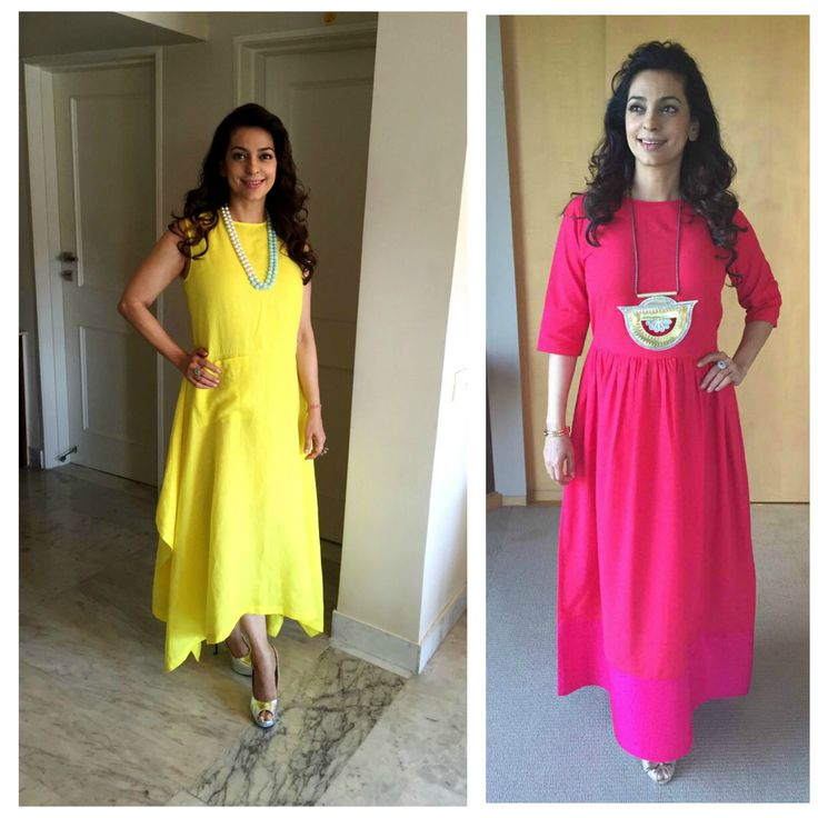 Juhi Chawla in payalkhandwala Linen Kurta Dress (left) Khadi Kurta Dress (right)