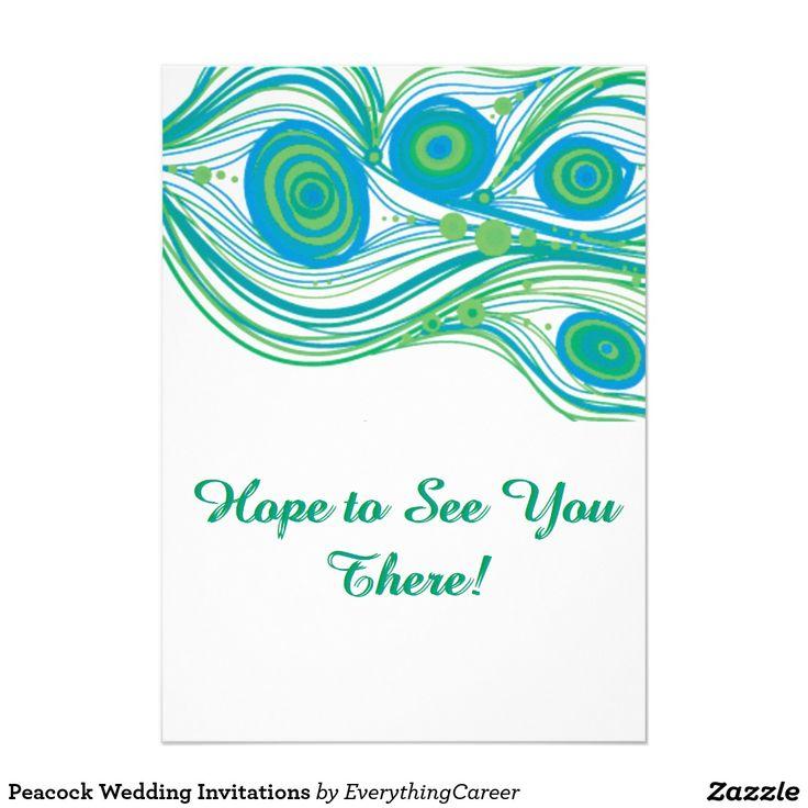 Pfau-Hochzeits-Einladungen 12,7 X 17,8 Cm Einladungskarte