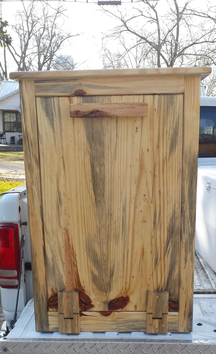 Wooden Trash Can Holder, Reclaimed Wood,handmade, Hidden Trash Can, Country,