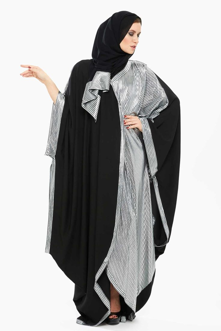 Elegant Xela - Black and Silver Abaya designed with stylized bat sleeves, printed pattern and pleats details, it is comfortable and effortlessly stylish.
