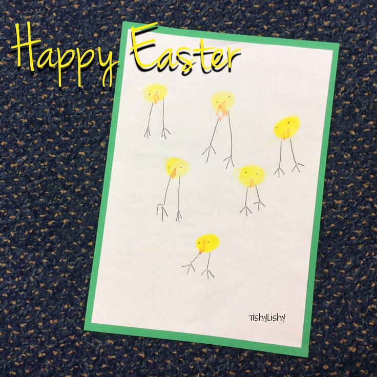 Class Easter card. Thumb print chick