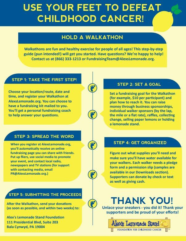 Use your feet and defeat childhood cancer! Hold a walkathon