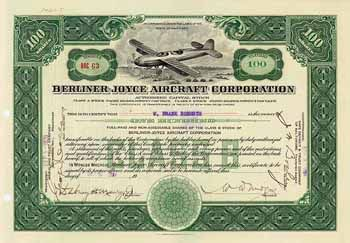 Berliner-Joyce Aircraft Corp. 100 class B shares 3.9.1929