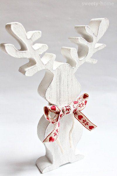 Ozdoba świąteczna RENIFER RETRO Boże Narodzen 19cm - sweety-home - Dekoracje: drewno