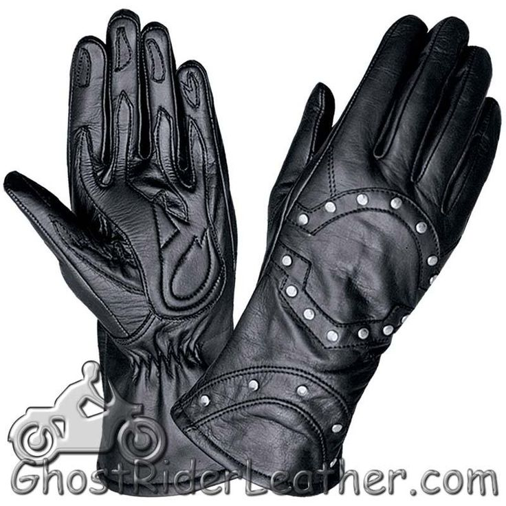 Ladies Full Finger Leather Motorcycle Riding Gloves With Studs - SKU GRL-1444.00-UN