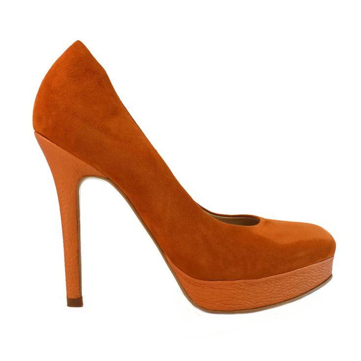 Pantofi din piele portocaliu velour
