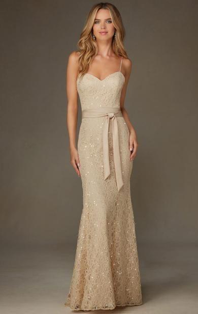 Simple Champagne Long Bridesmaid Dress BNNCL0005