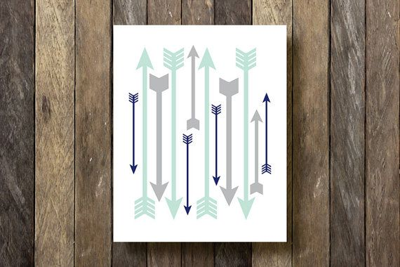 Arrows Printable - Instant Download - Mint and Navy Nursery - Arrows Print - Navy and Mint - Arrow Art Print - Arrow Printable