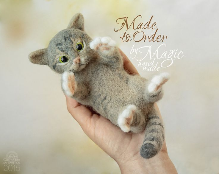 Custom needle felted cat sculpture, felt pet, custom cat, cat portrait, gift for pet owner, needlecraft, felted animal - pinned by pin4etsy.com