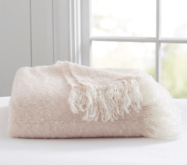 pale pink mohair throw blanket, light pink throw, blush pink, benjamin moore pink bliss