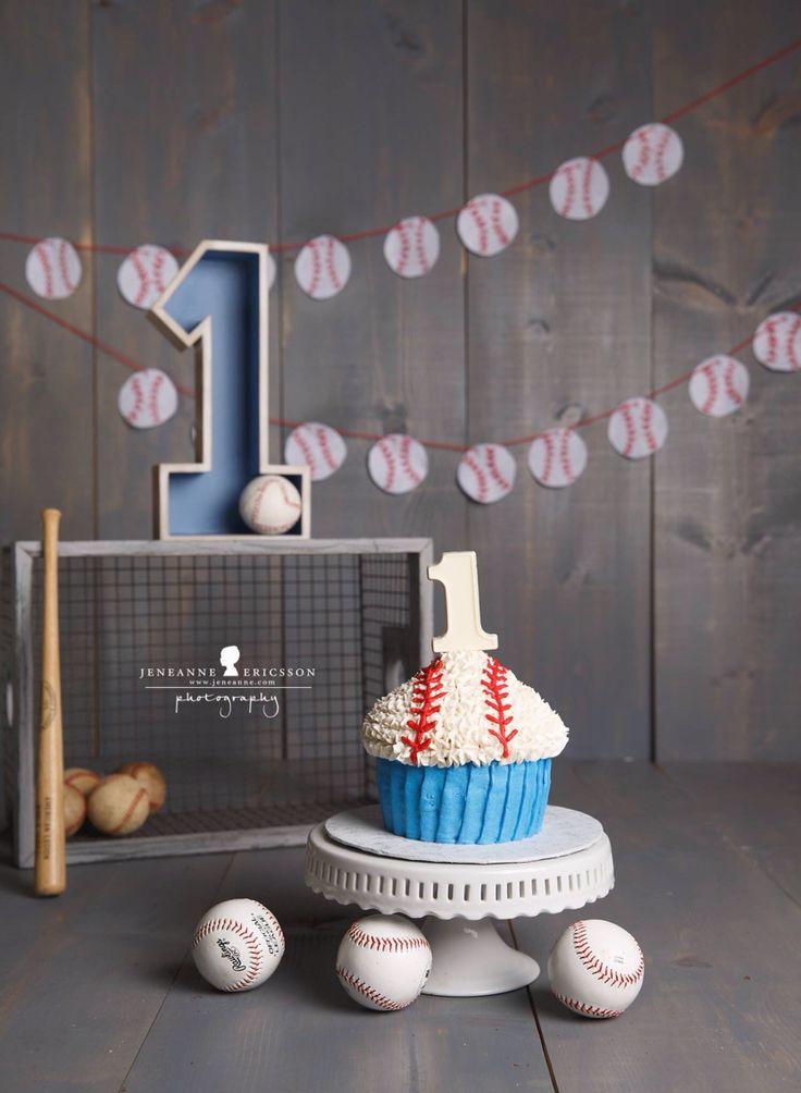 Baseball themed giant cupcake cake smash first birthday www.jeneanne.com