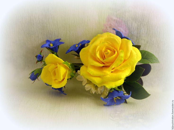 Зажим для волос с желтыми розами и колокольчиками – купить в интернет-магазине на Ярмарке Мастеров с доставкой