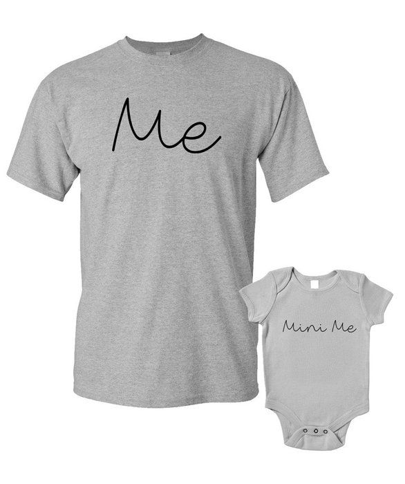 Me And Mini Me T-Shirts or Baby Grow Matching Father Child Gift Set 2 shirts Father's Day Present Mum Son Daughter Dad