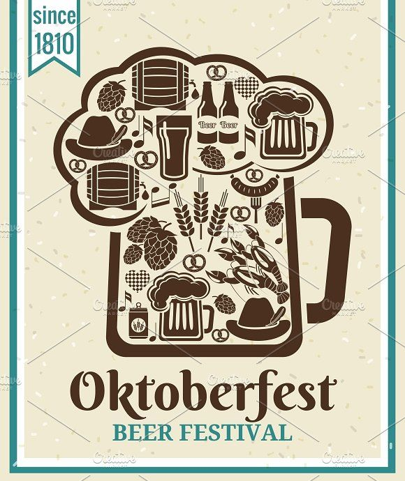 Oktoberfest Beer Festival Poster by Microvector on @creativemarket
