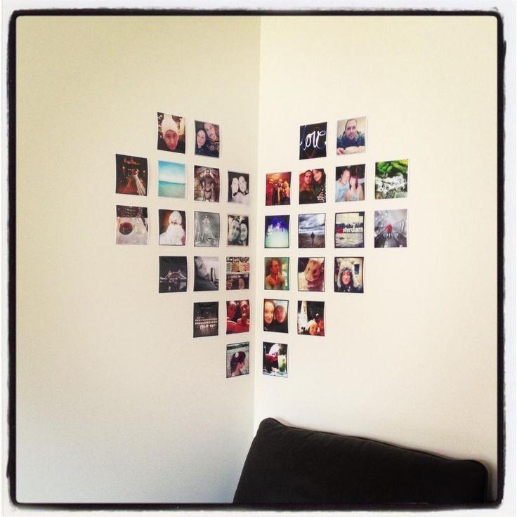 Idea for photo arrangement.  Just get your Instagram photos printed on photobox.com and arrange how ever you like.