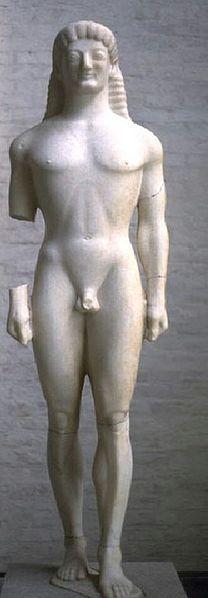 "So called ""Apollo (or Kouros) of Tenea"", corinthian kouros with the archaic smile, ca. 560–550 BC. Found in 1846 in the ancient cemetery of Tenea (7 miles from Corinth)."