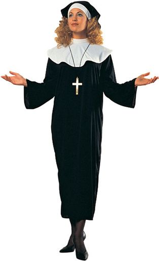 Holy Sister Nun Costume - Calgary, Alberta. This Nun costume is great for Halloween, theme parties, and plays like Sister Act.  Say your rosary in this Mother Superior Nun costume.  The Nun costume is three pieces. The dress is a simple black nylon that pulls over the head and ties behind the neck. Secondly is a white nylon like collar that drapes over the shoulders and ties behind the neck. Lastly is a nylon like headpiece with a white strip that ties the scarf.