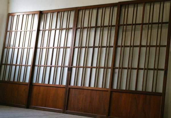 古いお屋敷格子モールガラス引き戸4枚 アンティーク建具ドア Antique Door 65000円 〆03月25日 ガラス引き戸 建具 引き戸