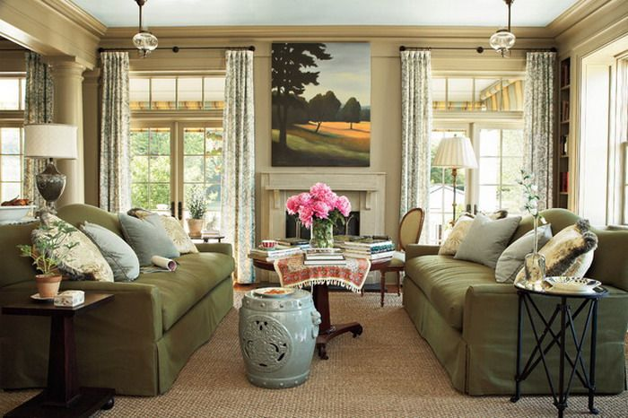 Dark Green Living Room Sofa Sets