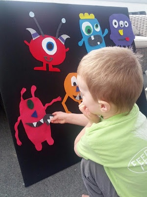 Mix and Match Monsters.  Made from felt and this could be a fun church, road trip, or just busy activity.