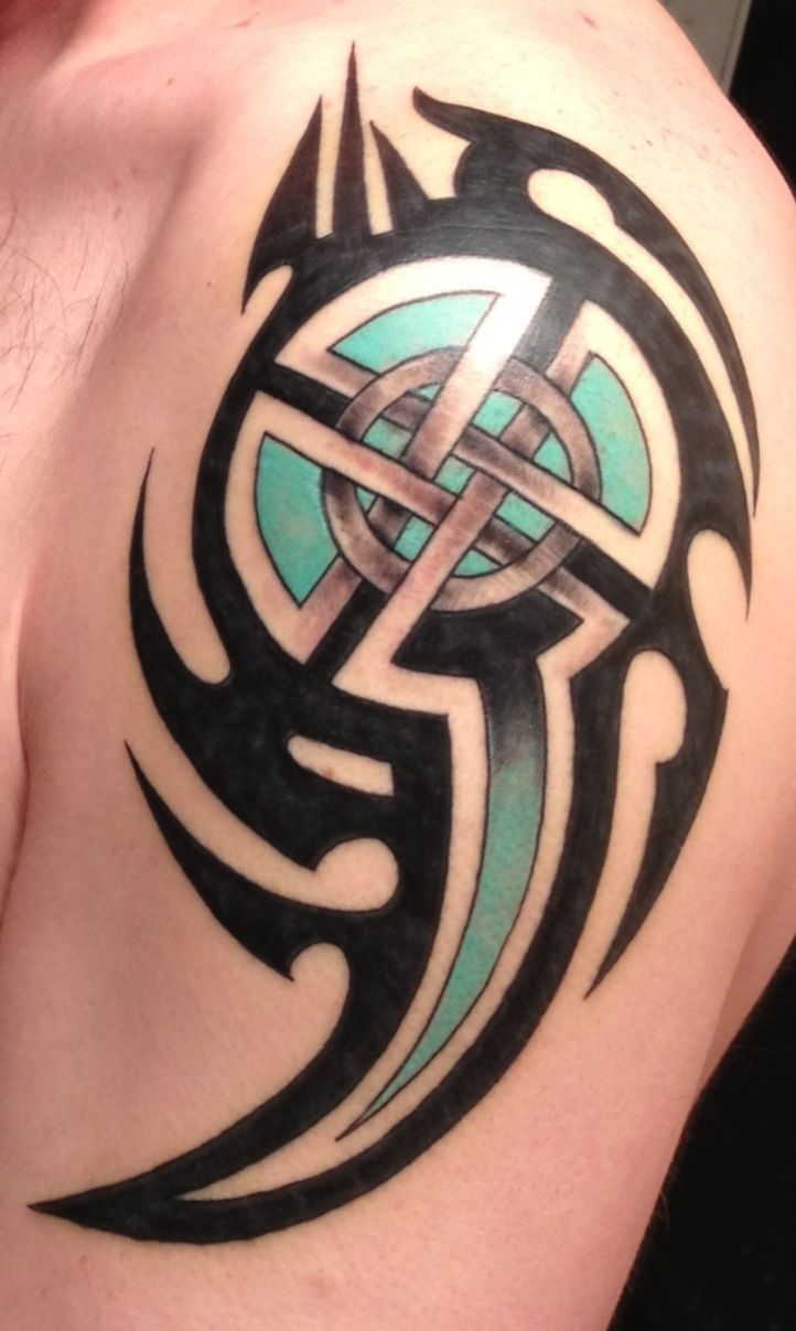 Celtic Shield Tattoo Celtic cross with tribal