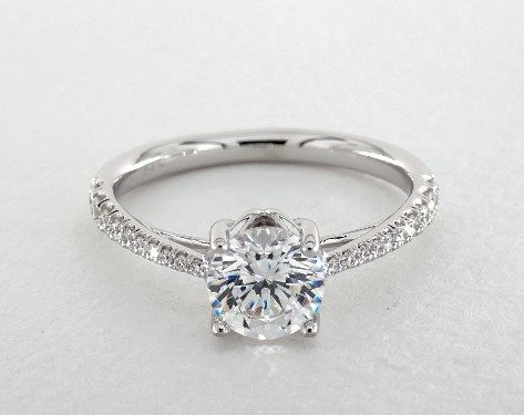Engagement Setting in White Gold - Ring price excludes center diamond.