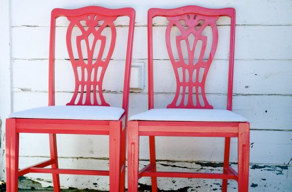 Love these coral chairs with canvas cushions --- now to find the chairs