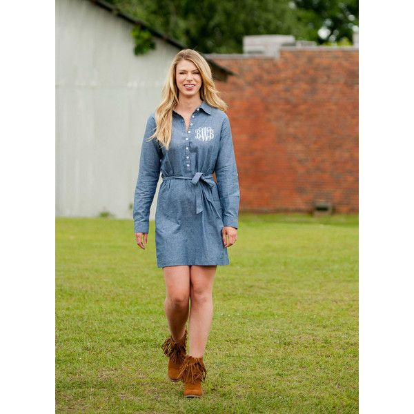 Chambray Dress Monogrammed Dress Gameday Dress Fall Dress Long Sleeve... ($45) ❤ liked on Polyvore featuring dresses, grey, women's clothing, grey dress, long-sleeve shirt dresses, grey shirt dress, gray t-shirt dresses and chambray dress