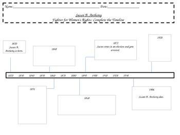 susan b anthony timeline worksheet common core rl 2 3 school social studies susan b. Black Bedroom Furniture Sets. Home Design Ideas