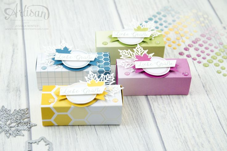 Stampin´ Up! - Jahr voller Farben - Thinlitsformen Aus jeder Jahreszeit - Produktreihe Farbenspiel - Verpackung für Ferrrero Küsschen - 1