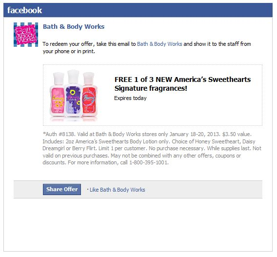 Free $4 signature fragrance lotion today at Bath & Body Works, no purchase necessary coupon via The Coupons App
