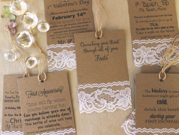 This is one of the most popular gift items in our retail store, Marriage firsts tags. Each tag has a cute poem about various first that the new couple will experience. The fun part is pairing the tags with just the right wine or beverage. Each brown kraft tag is embellished with delicate lace for just the right touch.  This is a set of tags, you chose the quantity (packs of 8 - 15 tags are offered). In notes to seller, please list the tags that you would like.  First Valentines Day First…