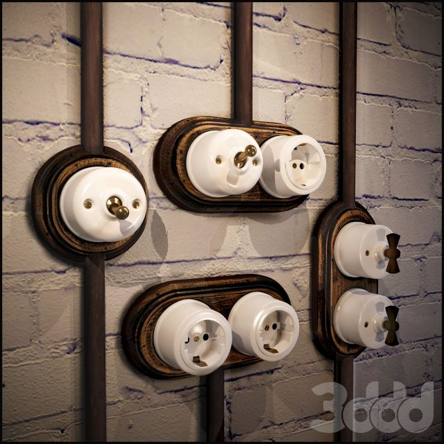 Розетки и выключатели в стиле лофт